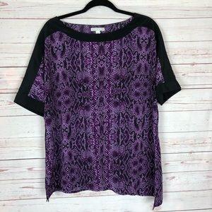 Dana Buchman Purple Snake Print Blouse Size XL